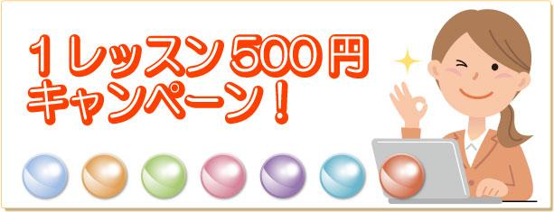 500円キャンペーン実施中